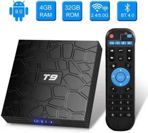 Android 9.0 TV BOX, Android Box con telecomando,Turewell T9 RK3318 Quad Core 64 bit 4 GB RAM 32 GB ROM Smart TV BOX, 2.4Ghz/5.0Ghz Wi-Fi integrato,BT4.0, Uscita HDMI, Box TV UHD 4K TV Box