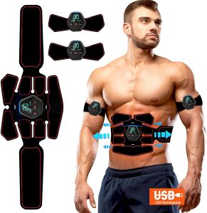 Elettrostimolatore Muscolare, EMS Suscolo Addominale,Ricarica USB ABS Trainer/Toner per Addome/Braccio/Vita/Gambe Home Gym