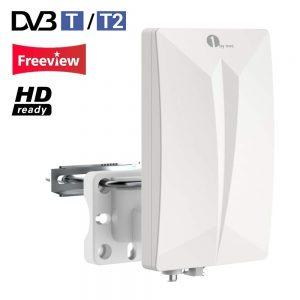 1byone Antenna TV Digitale per Interno e Esterno HDTV /DVB-T, VHF / UHF / FM, per Digitale e Analogico, con Circuiti SMD, Rivestimento Anti-UV, Filtro LTE 4G Integrato,Resistente all'Acqua e Compatta