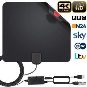2021 Aggiornamento Antenna TV Interna,Antenna HDTV Digitale a Lungo Raggio da 240KM con Amplificatore di Segnale Canali Locali Gratuiti 4K 1080P VHF UHF Supporta Tutte le TV - con Cavo Coassiale 5M