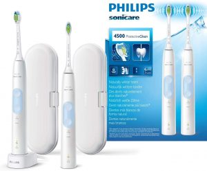 Philips Sonicare HX6839/34 ProtectiveClean 4500, Spazzolino Elettrico con Tecnologia Sonicare, 2 Programmi di Pulizia, Include 2 Manici