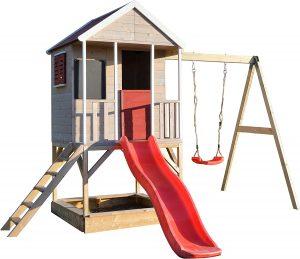 Wendi Toys M9 Casetta per i Bambini & Piattaforma e Scivolo   Casetta da Gioco per Bambini in Legno su Una Piattaforma di 90 cm con altalene, casa in Legno, Giardino, casetta da Gioco con Veranda