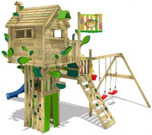 WICKEY Parco giochi in legno Smart Treetop Giochi da giardino con altalena e scivolo, Casetta arrampicata da gioco per bambini