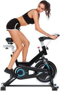 Profun Fit Bicicletta Spinning Bike Cyclette Fitness Cardio Allenamento Casa Ciclismo Corsa Macchina Uomo Donna Display LCD, Sella Regolabile, Max. 120 kg, Resistenza Regolabile