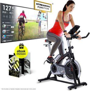 Sportstech Cyclette Professional SX200 - Marchio di qualità Tedesco - Eventi Video e Multiplayer App, volano da 22KG, Supporto Braccia -con...